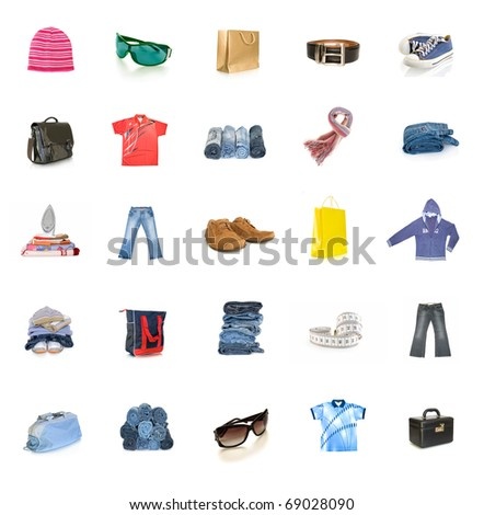 clothing collection isolated on white