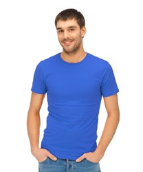 clothing design concept - handsome man in blank blue t-shirt