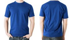 clothing design concept - man in blank blue t-shirt, front and back view