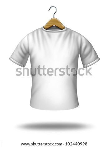 Clothing hanger on a white blank shirt or t-shirt hanging in the air as a symbol of merchandise and textile icon. - stock photo