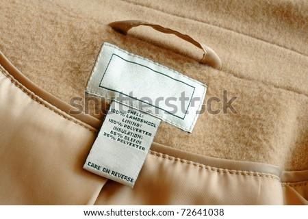 Clothing label inside of wool jacket