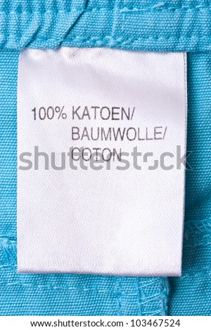 Clothing label on blue t-shirt