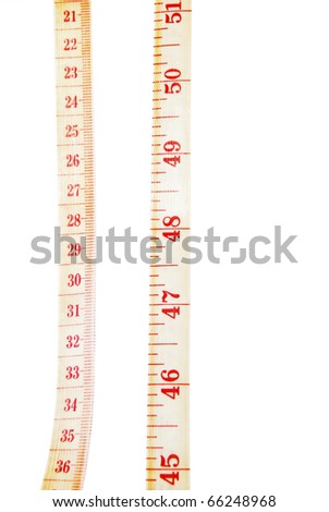 clothing measuring tape spiral closeup on white background