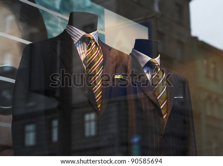 Clothing modern shop-window. Summer. - stock photo