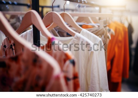 Shutterstock Clothing on hanger at the modern shop boutique