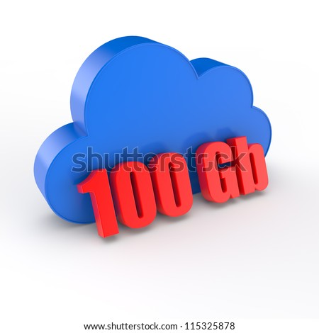 cloud a symbol of cloudy storage with capacity of 100 gigabytes