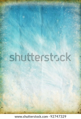 cloud and blue sky on old grunge paper ,retro background