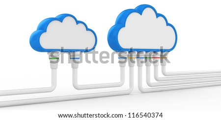 cloud and communications. 3d illustration on a white background