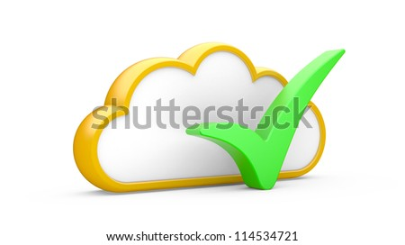 """Cloud and sign """"YES"""" on a white background - stock photo"""