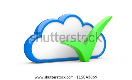 "Cloud and sign ""YES"" on a white background"