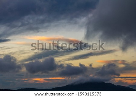 Cloud and sky after sunset in twilight. Twilight and sunrise with beautiful clouds.