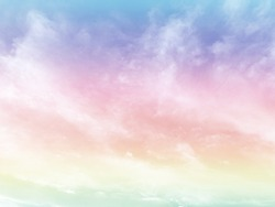 cloud and sky with a pastel rainbow-colored background