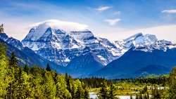 Cloud Blanket over Mount Robson, the highest mountain in the Canadian Rockies, in Mount Robson Provincial Park in British Columbia, Canada