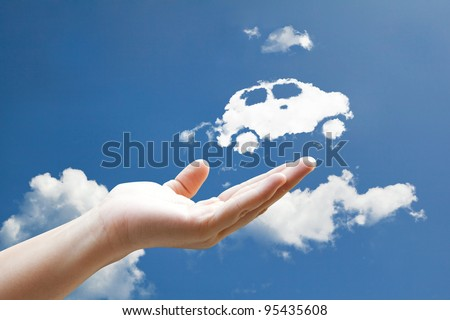 cloud car flying from hand  to...