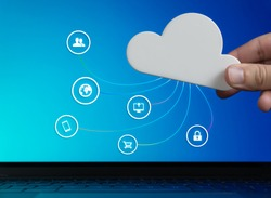 Cloud computer technology concept with focus on security, digital data storage, remote user access, online shopping and mobile device file sharing - Global business cyberspace network infrastructure