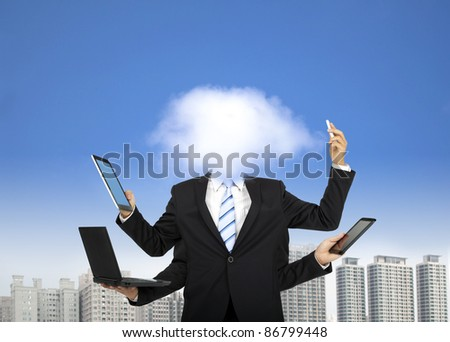 cloud computing and business thinking concept
