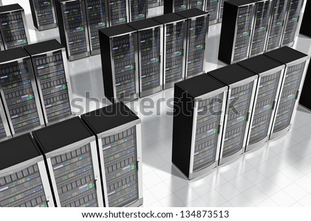 Cloud computing and computer telecommunication technology concept: rows of network server racks in datacenter