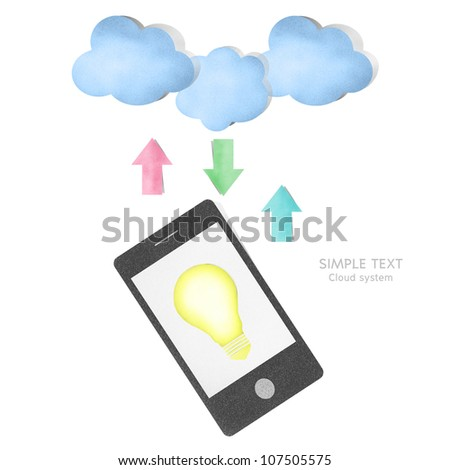 cloud computing and creative concept paper craft by cork board stock
