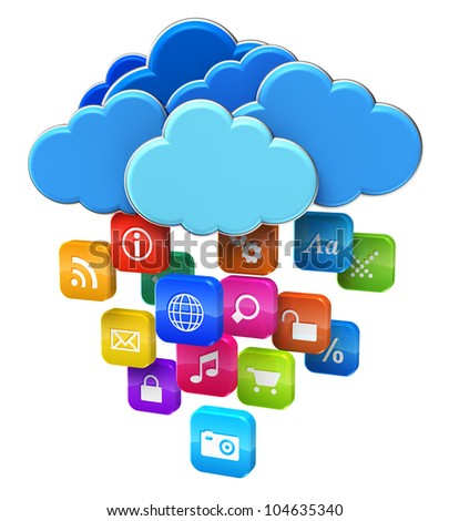 Cloud computing and mobility concept: blue glossy clouds with lot of color application icons isolated on white background - stock photo
