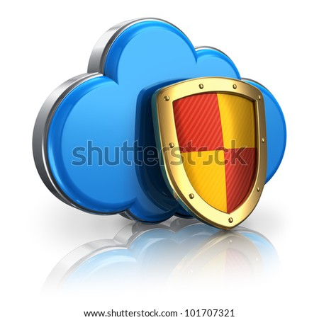 Cloud computing and storage security concept: blue glossy cloud icon covered by metal protection shield isolated on white background with reflection effect