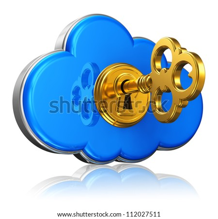 Cloud computing and storage security concept: blue glossy cloud icon with with golden key in keyhole isolated on white background with reflection effect