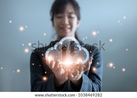 Cloud computing and technology concept. Palm hands of Business woman holding icon cloud computing network and data information.
