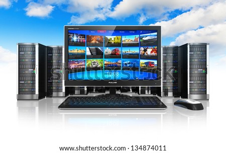 Cloud computing and telecommunication concept: desktop computer PC and row of network servers isolated on white background with reflection effect against blue sky with clouds - stock photo