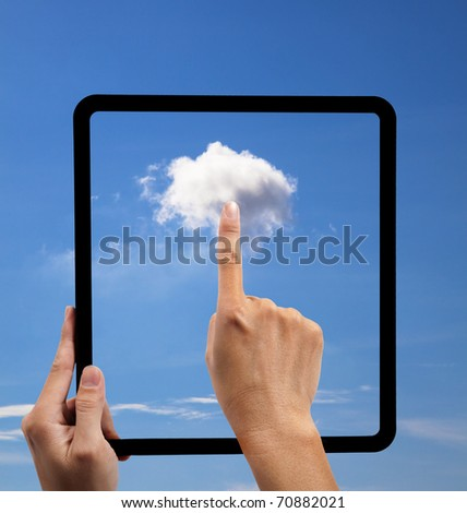 cloud computing and touch pad concept. hand holding black empty frame and touch the cloud