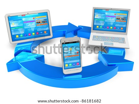 Cloud computing and wireless networking concept: white tablet PC, smartphoe and laptop connected with blue round arrows isolated on white background