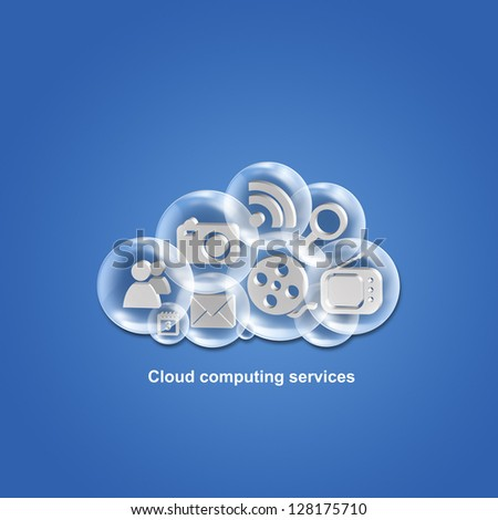 Cloud computing applications and services illustration