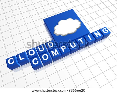 cloud computing - blue boxes with white text and pictogram