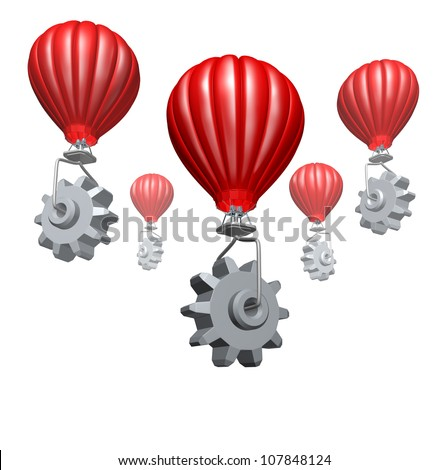 Cloud computing business and strategic partnership technology concept with hot air balloons with gears and cogs building a website or network of virtual servers for the internet on a white.