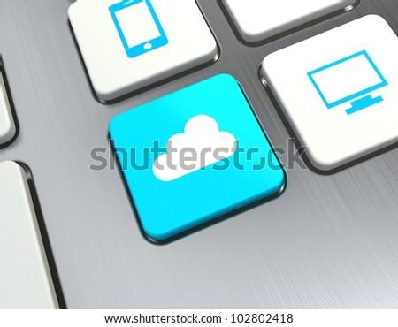 cloud computing button on computer keyboard