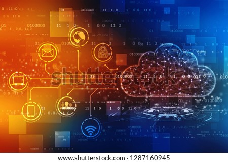 Cloud computing, Cloud Computing Concept Background. Cloud Internet technology background. 2d illustration