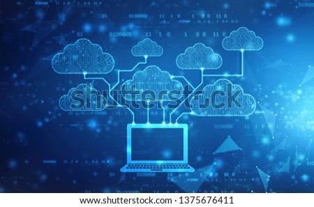 Cloud computing, Cloud Computing Concept, Cloud computing technology internet concept background