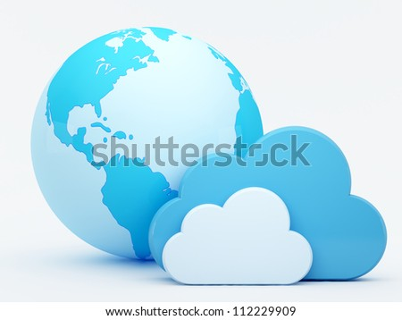 Cloud computing, clouds in front of blue globe