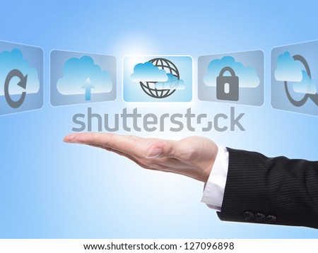 Cloud computing concept , business man hand palm holding all kinds of icon about cloud computing with blue sky background