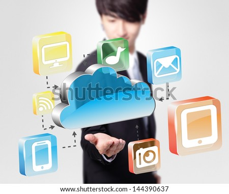 Cloud computing concept - Business man look cloud computing icon in the air
