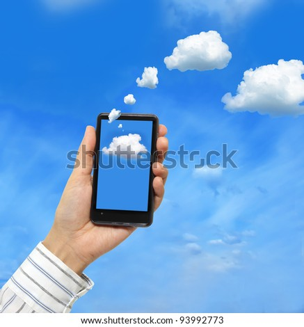 Cloud computing concept.Businessman works with cloud computer