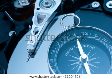 Cloud computing concept. Cloud computing is a new way of data storing. Hard disk drive and compass pointed at word cloud computing.