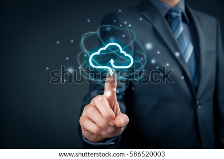 Cloud computing concept - connect to cloud. Businessman or information technologist click on cloud computing icon. #586520003