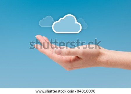 Cloud computing concept - connect to cloud is light as a feather. Hand with cloud icon.