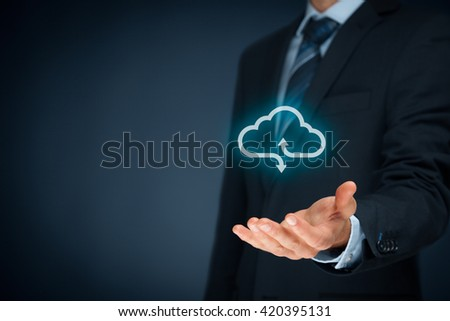 Cloud computing concept - connect your company to cloud. Hand with cloud computing icon. - Shutterstock ID 420395131