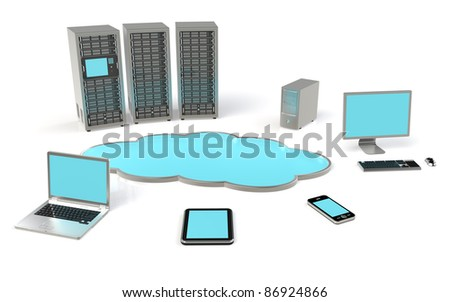 Cloud Computing Concept. Ground reflections.