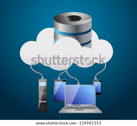 Cloud computing concept illustration design over a white background