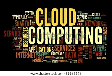 Cloud computing concept in word tag cloud on black