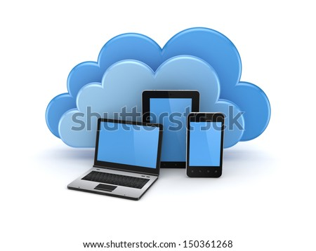 Cloud computing concept.Isolated on white background.3d rendered.