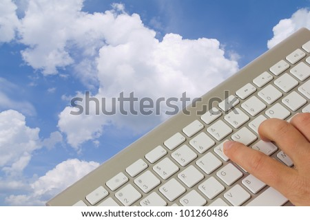cloud computing  concept - keyboard over cloudscape