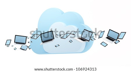 Cloud computing concept. Laptop, tablet pc and smart phones flow around cloud.