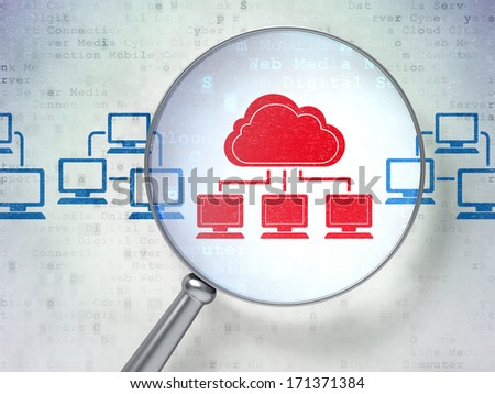 Cloud computing concept: magnifying optical glass with Cloud Technology icons on digital background, 3d render